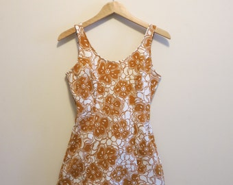 Swim suit bathing suit 1960s vintage rockabilly mustard yellow floral XL