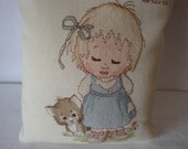 Girl with a cat  stitched picture, collector picture, picture of a girl and cat,counted cross stitched child's room picture