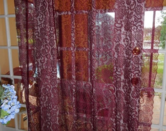 Free Shipping Vintage Burgundy Lace Curtain Panel 61 Inches Wide