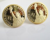 Statue of Liberty Cuff Links - Proof Gem Deep Cameo Presidential Dollars - Gold USA Coin