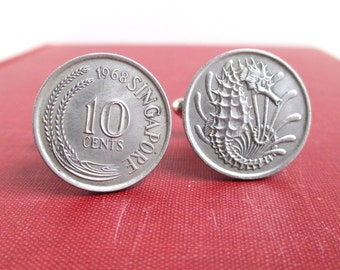 Singapore Cuff Links - Vintage 10 Cent Repurposed Coins, Silver Tone