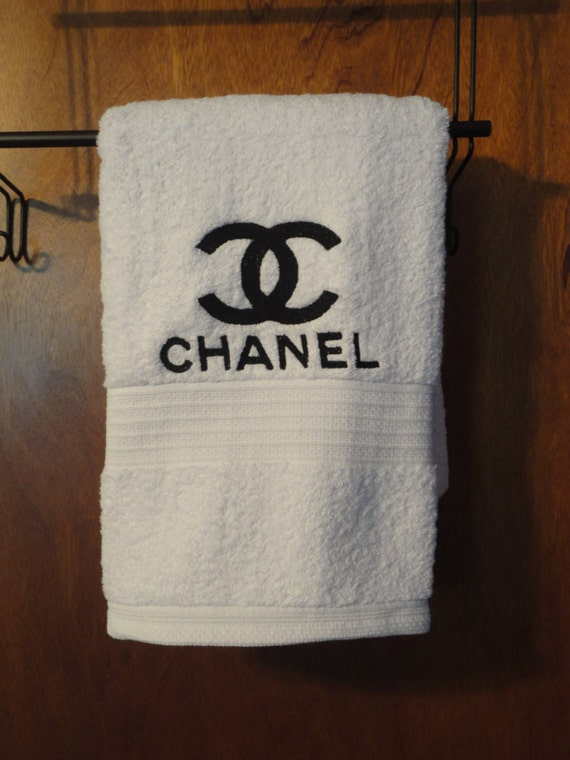 Chanel Inspired Embroidered Bath Towel Bath Towel By