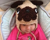 Pug  Hat, crochet pug, dog hat, crochet pug hat, costume alternative