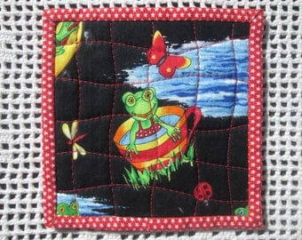 Quilted Frog Fabric Coasters - Set of 4