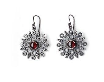 Garnet Openwork Mandala Earrings - Recycled Sterling Silver Lace Earrings Bezel Set