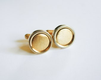 Gold Tone Cuff Links with Rotating frame