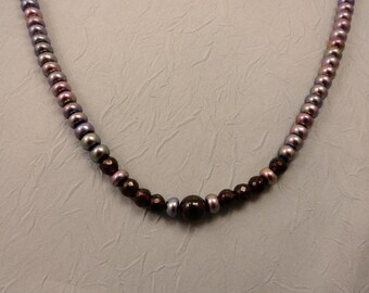 Garnet and Grey Pearl Necklace