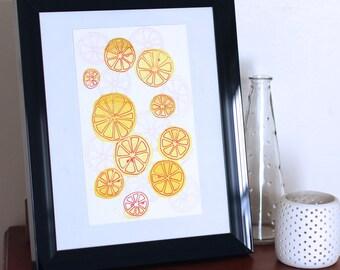 Fruit Art - Kitchen Art - Kitchen Decor - Fruit Wall Art - Kitchen Wall Art - Orange Decor - Orange Wall Art - Citrus Art - Citrus Decor