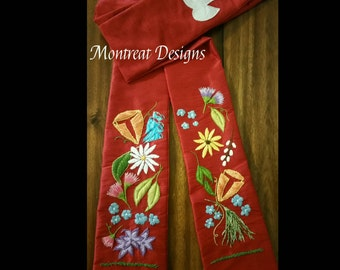Blooming Joy: Red Liturgical Stole in Silk for Ordination, Pentecost, Installation