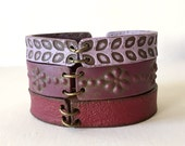 Boho Leather Inspired Cuff Bracelet, Purple tones Bracelet, Shades of Wine Color, Clay Bracelet, Bohemian Wanderlust Chic Wear, Ethnic Gift