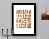 Watercolor brown pebbles - abstract watercolor painting -gift for him - watercolor print beach finds