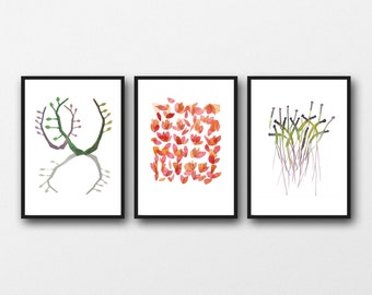 Watercolor prints Set of 3 giclee prints  minimal kitchen decor Branches / rose petals / Sprouts / white green pink