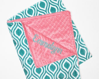 PERSONALIZED Teal Oceano and Coral DOUBLE MINKY Blanket or Lovey - Or Choose Another Solid Color