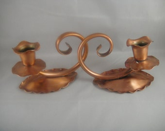 Copper Candle Stick Holders Gregorian Copper Pair