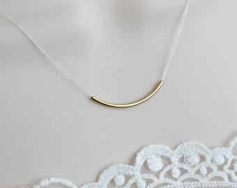Gold Filled Tube Necklace on Sterling Silver Chain, Everyday Wear, Casual, Simply and Modernist Necklace