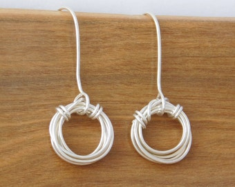 Silver Wire Circle Earrings, Geometric Jewelry, Team Spirit Jewelry, Teen Girl Gift Ideas