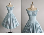 50's Dress // Vintage 1950's Baby Blue Cotton Shelf Bust Lace Full Garden Party Dress M