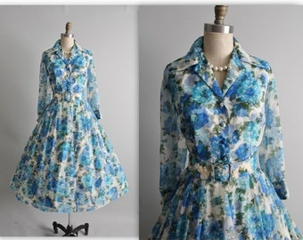 STOREWIDE SALE 50's Floral Dress // Vintage 1950's Floral Print Chiffon Shirtwaist Garden Party Cocktail Dress M L
