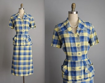 STOREWIDE SALE 50's Shirtwaist Dress // Vintage 1950's Blue Yellow Plaid Cotton Fitted Casual Shirtwaist Day Dress L