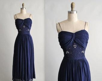 STOREWIDE SALE 40's Beaded Dress // Vintage 1940's Navy Draped Chiffon Soutache Evening Gown M