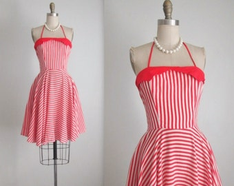 Vintage Halter Dress // 80's does 50's Red Striped Cotton Garden Party Full Summer Circle Dress S