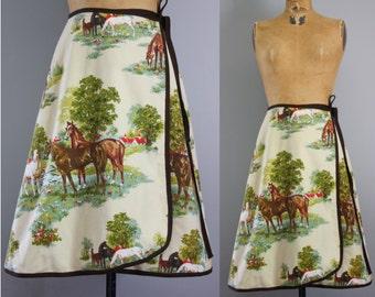 1970s skirt / 70s wrap skirt / horse skirt / horse print skirt / novelty print skirt