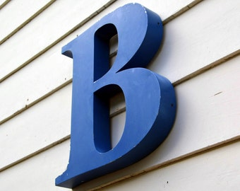 Vintage Metal Marquee Sign Letter Capital 'B': Large Blue Metal Wall Hanging Initial -- Industrial Neon Channel Advertising Salvage