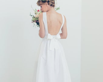 Boatneck open back silk bridal gown - Audrey Wedding Gown