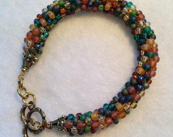 Green and Brown Tones Beaded Kumihimo Bracelet