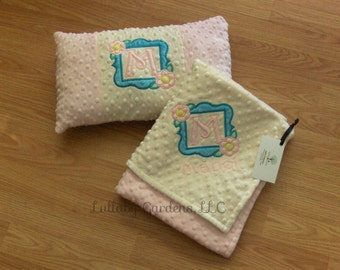 Personalized Minky Baby Blanket and Pillow - Spring Frame Mongram- Choice of Colors