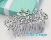 Wedding Hair Comb, Bridal Comb, Vintage Rhinestone Hair Comb Bridal Jewlery HC-11 Free US Shipping
