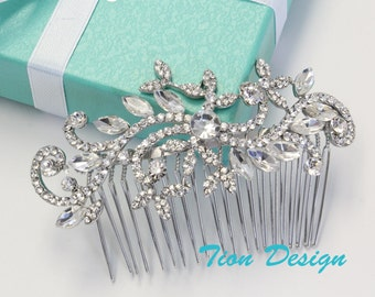 Wedding Hair Comb, Bridal Comb, Vintage Rhinestone Hair Comb Bridal Jewlery HC-11 Free US Shipping