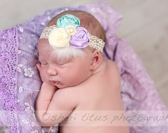 Rosette Headband with Feathers - Lavender Aqua Ivory - Triple Rosette Headband - Newborn Headband - Baby Headband - Flower Girl - Lace