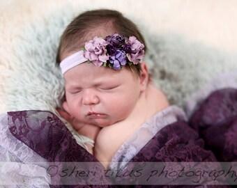 Purple and Lilac Flower Crown Headband - Baby Flower Crown - Flower Girl Floral Headpiece - Newborn Flower Crown - Purple Floral Headband
