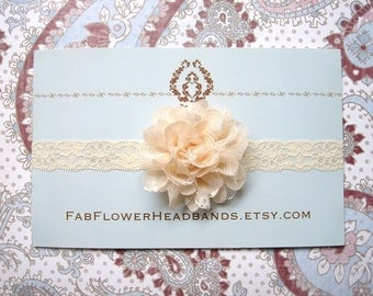 Vintage Cream Lace Flower Baby Headband - Newborn Headband - Cream Flower Girl Headband - Cream Lace Headband - Christening - Baptism