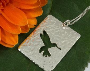 Silver Hummingbird pendant: Handmade in Sterling Silver