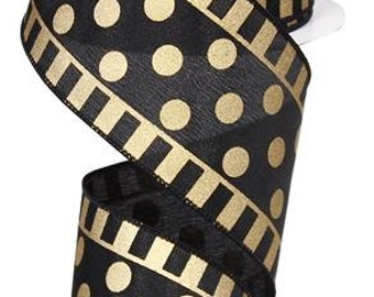 2.5 Inch Black Gold Dots and Stripes RG0137286
