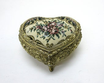 Vintage Gold Tone Music & Jewelry Box Made In Japan With Tapestry Heart Shaped Jewelry Box Heart Shaped Music Box