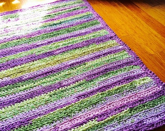 Shades of Green and Purple Multicolored Rectangular Rag Rug Recycled T Shirt Yarn Made to Order