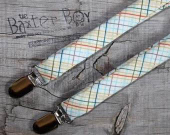 Ready-to-Ship --- SIZE MEDIUM Off-Shore plaid suspenders for little boys - photo prop, wedding, ring bearer, accessory