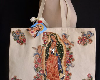 Virgen de Guadalupe, XL Creme Canvas Tote Bag, Fabric Applique, Mother of Mexican, Mexican Bohemian