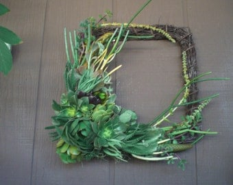 12 inch Willow Branch Squared Living Succulent Wreath