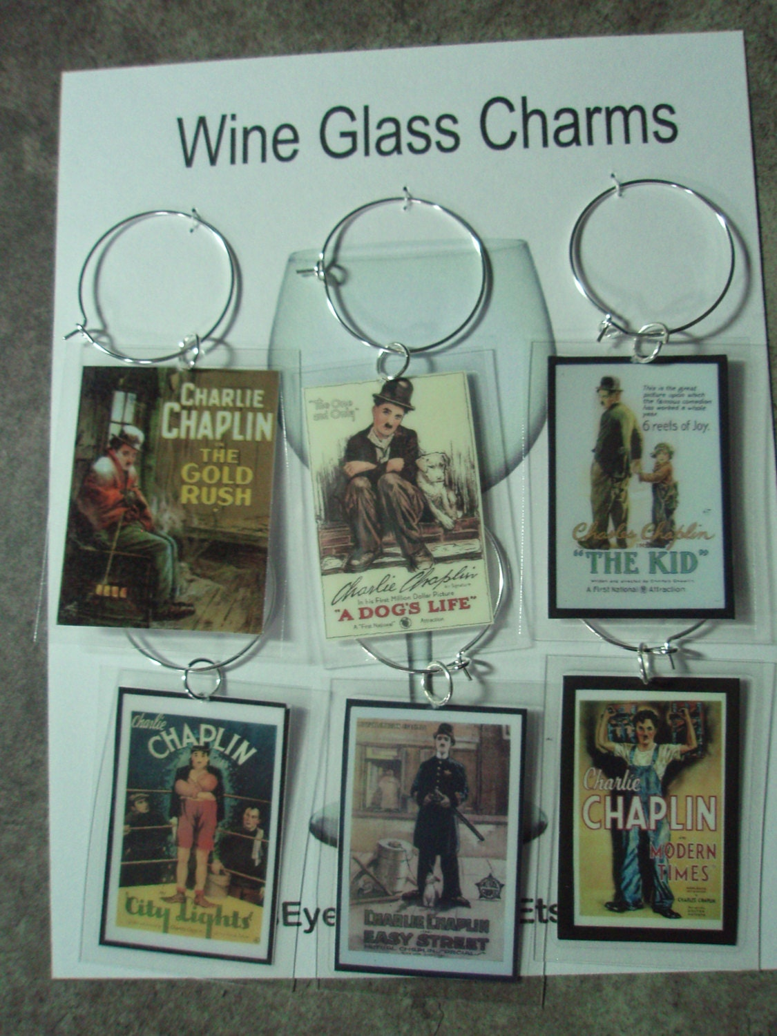 wine glass charms vintage movie posters set 6 tags all Charlie