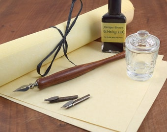 Calligraphy Starter Kit with Dip Pen, Nibs, Ink, Inkwell, and Paper