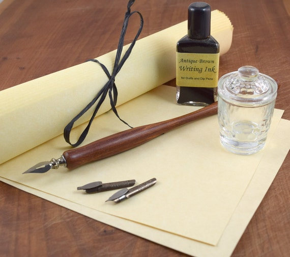 Calligraphy Starter Kit With Dip Pen Nibs Ink Inkwell And