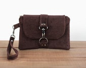 Cell Phone Wallet Wristlet - Cell Phone Wristlet - Cellphone Wallet - Cell Phone Clutch - Brown Clutch Bag - Cell Phone Bag - Brown Clutch