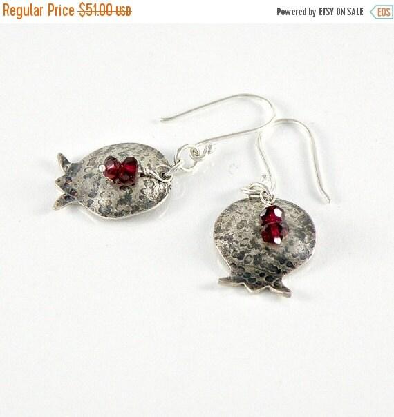 Pomegranate Earrings in Sterling Silver Rosh Hashanah Gift, Bat Mitzvah Gift, Gift For teens, Women, Girls, Dangle Earrings, Garnet Earrings