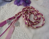 Filigree love heart hand fasting wedding cord  dark pink  light pink and ivory with heart charms