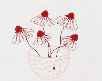Bowl of coneflowers embroidered on a piece heavy vintage cotton
