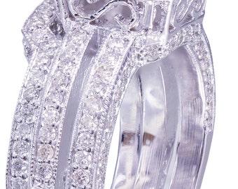 GIA G-VS2 14K white gold princess cut diamond engagement ring and band 2.50ct